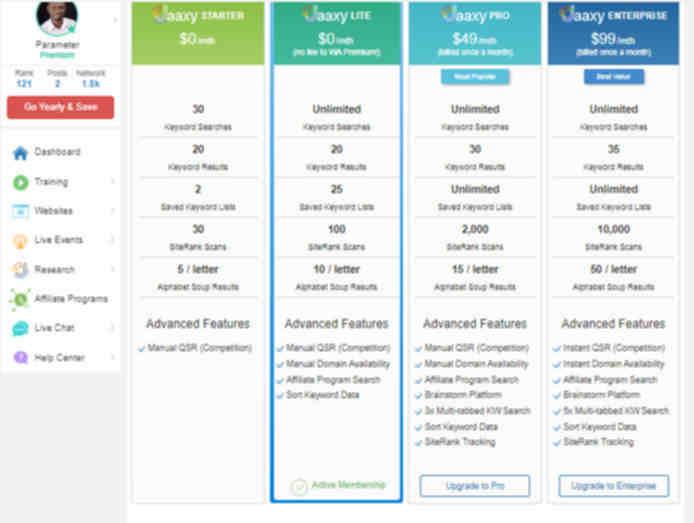 best keyword tool SEO - Jaaxy Pricing