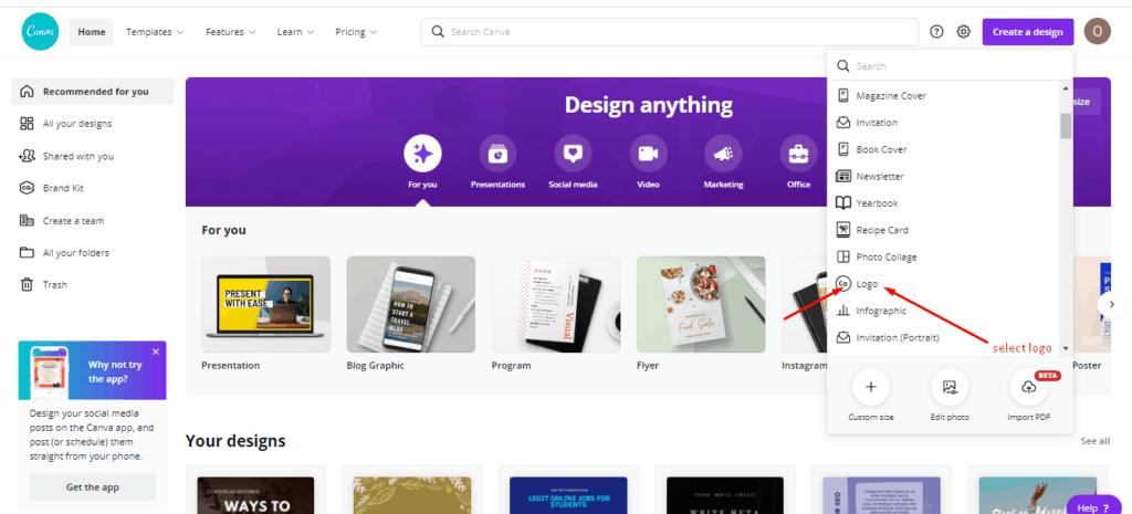 create a business logo - Select logo